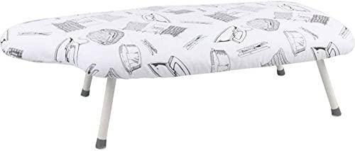 HCYY Tabla de Planchar de Mesa de 29'x 15' de ensanchamiento con 4 Patas Plegables, Soporte Compacto de Mesa Plegable con Funda de algodón, Marco de Hierro Blanco (Color: Blanco)