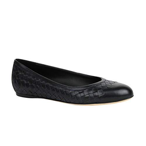 Bottega Veneta Women's Intrecciato Black Leather Flat Slippers 370132 4030 (40 EU / 10 US)