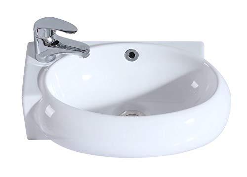 Eridanus, Serie Orson, Keramik Waschbecken mit Überlauf, Wandwaschbecken, Waschschale, 43 cm breit