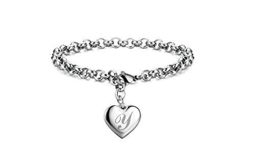 Initial Charm Bracelets Stainless Steel Heart Letters Y Alphabet Bracelet for Women
