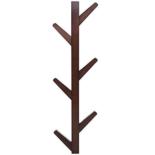 MyGift Modern Brown Bamboo Wall Mounted 6 Hook Hanging Storage Organizer, Entryway Coat & Hat Rack