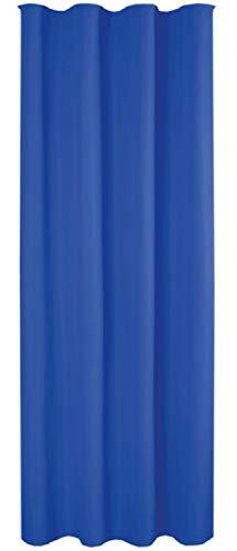 Cortina opaca universal con cinta fruncidora (micro satén), poliéster, Azul Medio, 140x245cm