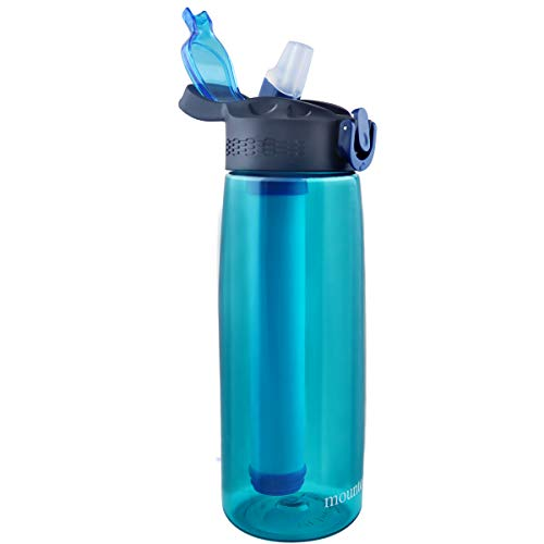 Product Image of the mountop Portable Water Filter Bottle - Emergency Water Filtered Bottle with 2-Stage Integrated Filter Straw for Hiking Backpacking and Travel BPA Free 22oz Cyan