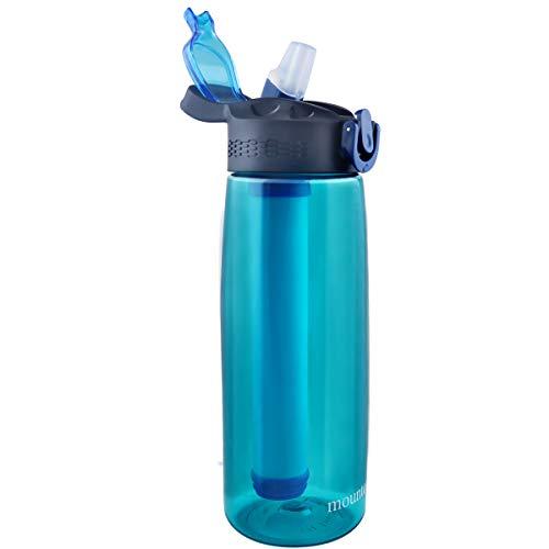 Mountop Tragbare Wasserfilter-Flasche – Notfall-Wasserfilterflasche mit 2-stufigem integriertem Filter-Strohhalm für Wandern, Rucksackreisen und Reisen, BPA-frei, 625 ml, cyan