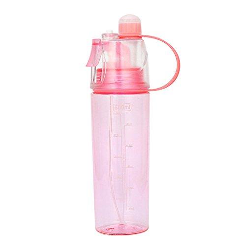 Mikey Store Bottle Water, (600ml) 20oz, Mist Spray Water Bottle Sport CyclingLeak-proof Drinking Cup (Red)