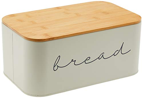 Lowest Prices! Bloomingville A97306650 Metal Bread Bin With Bamboo Lid, 11.75L x 7H, Grey