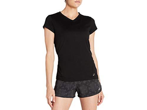 ASICS Camiseta de manga corta con cuello en V para mujer - negro - Small