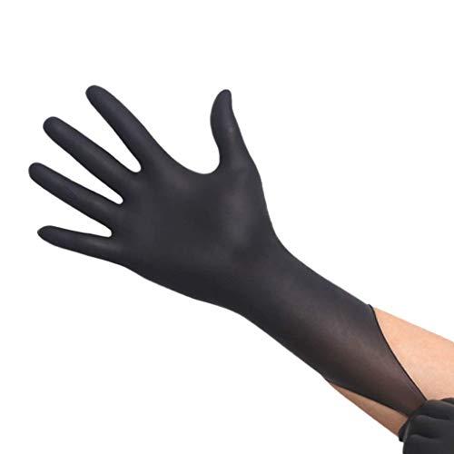 Knoijijuo Verdickte verschleißfeste Schwarze Nitril-Einweghandschuhe - säurefeste Beauty-Salonhandschuhe, 50 Paare/Box,L