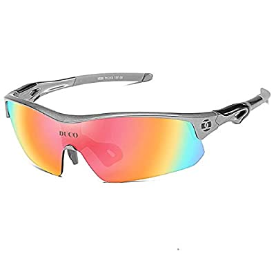 DUCO Polarized Sports Cycling Sunglasses for Men with 5 Interchangeable Lenses for Running Golf Fishing Hiking Baseball