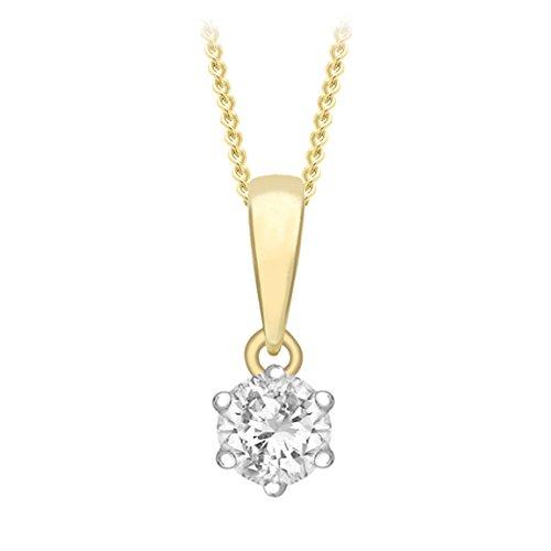 Carissima gouden hanger aan ketting 9 karaat 375 geelgoud 0,10 karaat diamant solitair 46 cm 1.43.2484