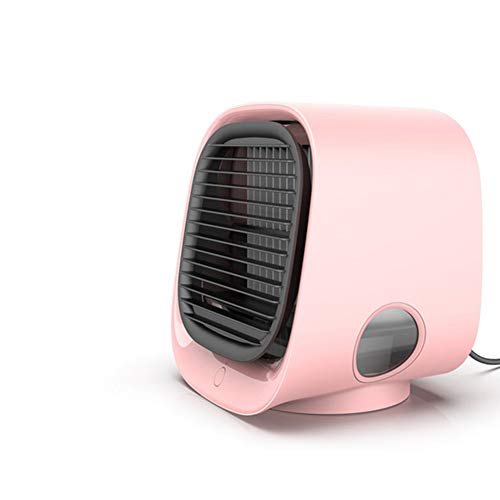 HJHY Personal Air Cooler Conditioner Fan with 3 Adjustable Speeds Evaporative Coolers, Portable Air Cooler Humidifier, Purifier USB Powered Table Fan Space Air Cooler with Colorful Light (Pink)