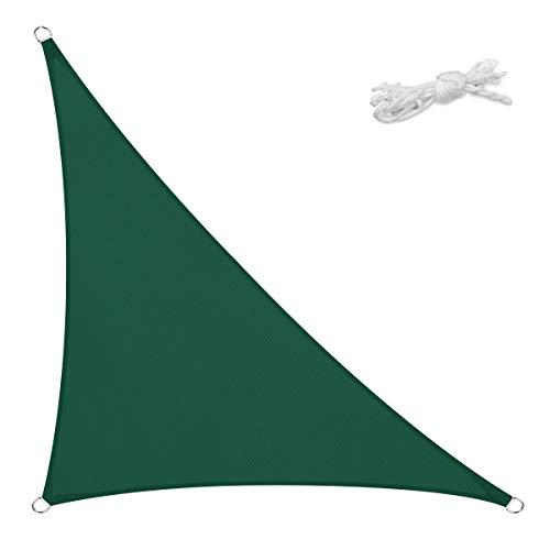Sekey Tenda a Vela Parasole Triangolare Impermeabile Protezione Antivento Protezione UV, per Giardino Terrazza Campeggio Patio Party, con Corda, Verde 5×5×7m
