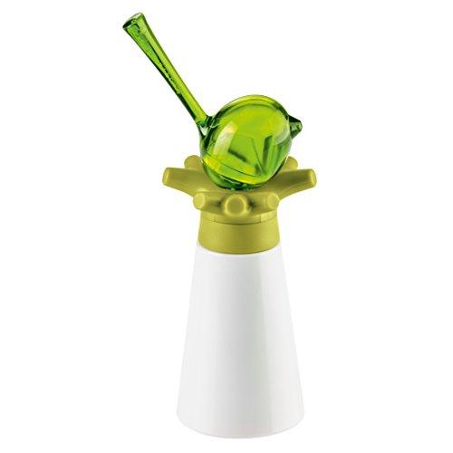 koziol Gewürzmühle mit Salzstreuer [pi:p], Kunststoff, oliv / transparent olivgrün, 7,1 x 9 x 19,5 cm