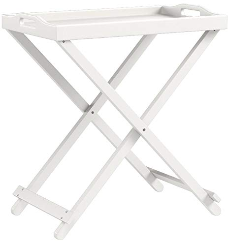 Tv Tray Tables with Removable Serving Tray Portable Table Top Folding Lightweight End Table Snack Table for Living Room Wood Furniture Includes Bonus Ebook Home Decorating on a Budget (White)