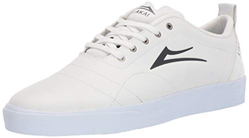 Lakai Footwear Bristol LEATHERSize 7 Tennis Shoe, White/Charcoal Leather, 7 Standard US Width US