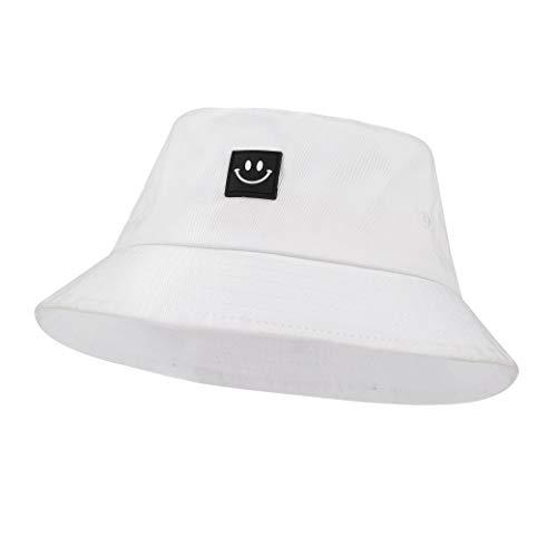 Sombrero del Pescador Algodón Plegable Bucket Hat Al Aire Libre Visera para Senderismo Camping y Playa 56-58 cm Blanco