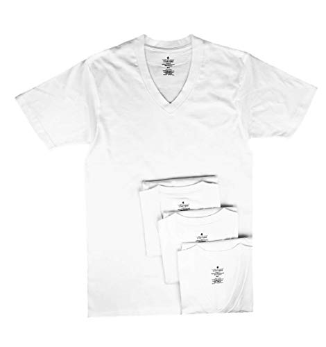 Stafford Men's Tall/Extra Tall 100% Heavy Weight Cotton V-Neck Undershirt, White, Short Sleeve, 4 Pack (XLXT (Extra Large Extra Tall))