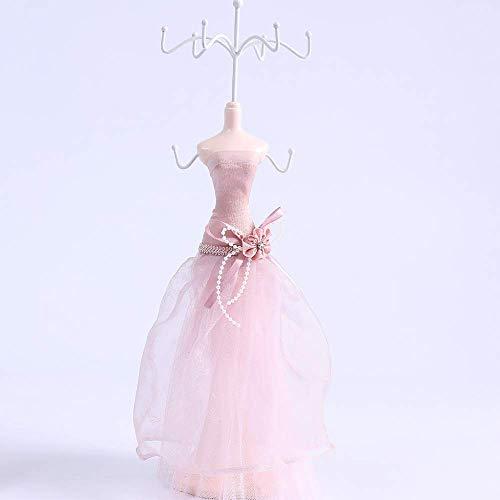 N/H Expositor de pendientes de resina con encaje rosa para vestido de...