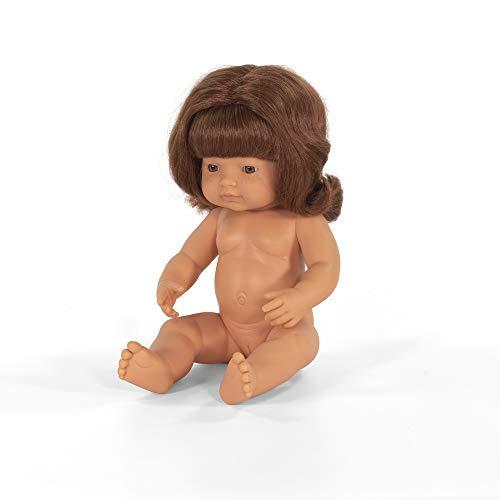 Miniland –Muñeco bebé Europeo Niña Pelirroja. Vinilo Suave de 38cm. Rasgos étnicos y...