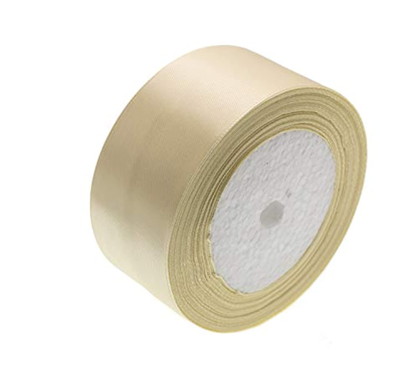 ATRibbons 50 Yards 1-1/2 inch Wide Satin Ribbon Perfect for Wedding,Handmade Bows and Gift Wrapping,25 Yards/Roll x 2 Rolls (Beige)