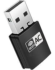 USB Wifi 無線LAN 子機 PC WiFi アダプター ネットワー ワイヤレスLAN AC600 433+ 200Mbps 2.4G/5Ghz 11ac対応 ハイパワーアンテナモデル 5G高速 11ac/n/a/g/b Windows/Mac OS/Linux 対応 TELEC認証済 小型