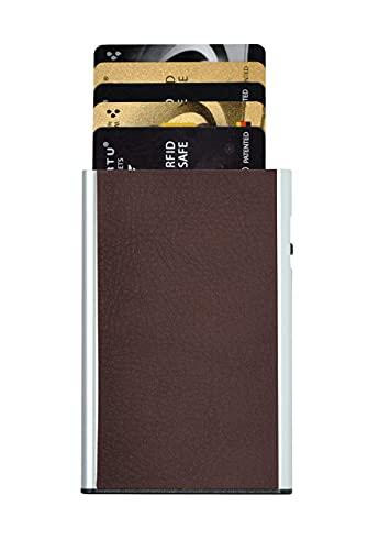 TRU VIRTU® Kartenetui Click & Slide Nappa Chestnut/Silver I Kreditkartenetui I Kartenetui-RFID-NFC-Schutz I Kartenetui aus Aluminium I Kartenaufbewahrung I Slim Wallet