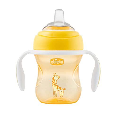 Chicco Transition Cup Bicchiere Antigoccia per Bambini 200ml, 1 Tazza Biberon 4+ Mesi per Imparare a Bere, con Beccuccio Ergonomico in Silicone, Doppia Valvola Anticolica, senza BPA - Giallo o Verde
