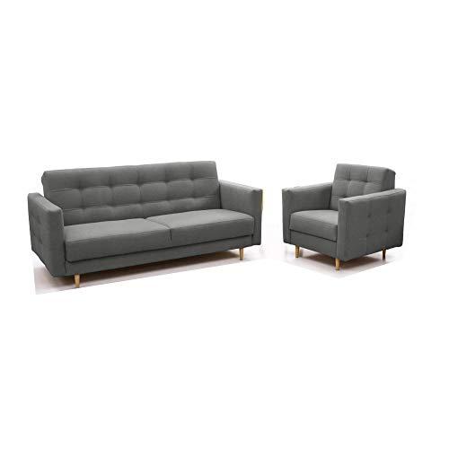 Polstergarnituren Sofa mit Sessel Schlafsofa Kippsofa Sofa mit Schlaffunktion Klappsofa Bettfunktion Couch - Scarlett (Dunkelgrau)