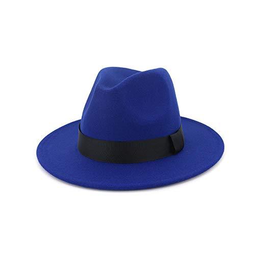 Geekcook Gorras y Sombreros protección UV,New Vintage Men Wool Wide Brim Top Hat Witner Otoño para Mujer Black Church Hat Bowler Damas Mujeres s Jazz Hats-5 5_Un tamaño