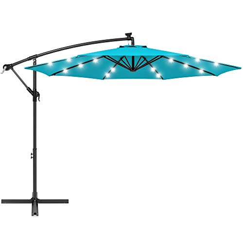 Best Choice Products 10ft Solar LED Offset Hanging Market Patio Umbrella for Backyard, Poolside, Lawn and Garden w/Easy Tilt Adjustment, Polyester Shade, 8 Ribs - Sky Blue