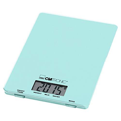 Clatronic KW 3626 Küchenwaage bis 5 kg, extra flach, Glas-Wiegefläche, Tara-Funktion, LCD-Display, mint-grün, Kunststoff