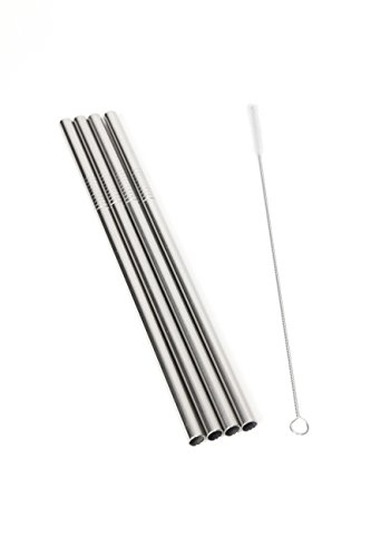 Epica Stainless Steel Drinking Straws Extra Large for Shakes and Smoothies, Set of 4 Plus Cleaning Brush