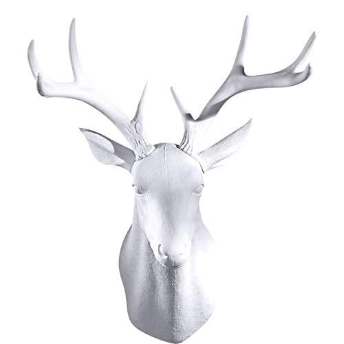 GAOBEI White Deer Head Wall Decor Deer Antlers Wall Sculpture Faux Taxidermy Wall Animal Head 19.69 x 11.81 x 15.75 inches (White Deer)