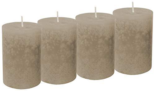 Unbekannt 4 Stumpenkerzen Kerzen Braun Taupe Adventskranz Weihnachten Tischdeko Deko Hochzeit Kommunion Konfirmation
