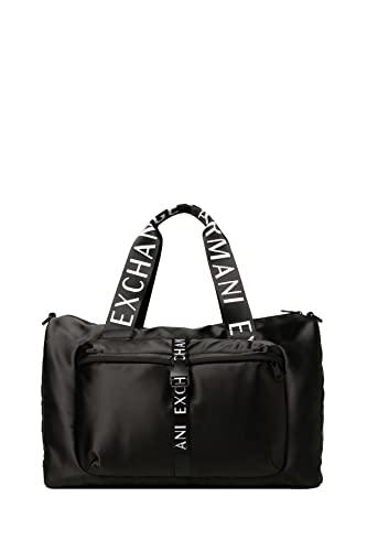 Armani Exchange Logotape Shiny Nylon Duffle Bag, Carry-On-Luggage para Hombre, Negro, Einheitsgröße