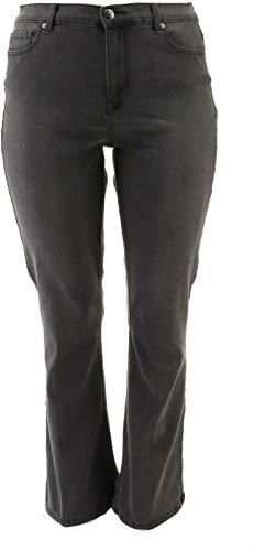 DG2 Diane Gilman Boot-Cut Jean Embellished Pockets Gun Metal 6 New 679-846