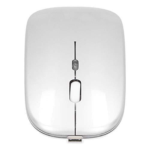 Dilwe Ratón inalámbrico portátil silencioso ergonómico Recargable de 2,4 GHz con Sensor óptico Inteligente, Blanco, Rosa, Negro, Gris Plateado Mini ratón inalámbrico(Gris-Plata)