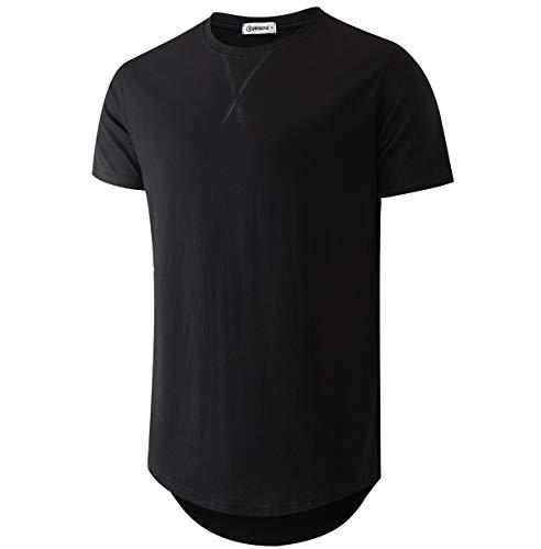 KLIEGOU Mens 100% Cotton Hipster Hip Hop Longline Crewneck T-Shirt Black M(66)
