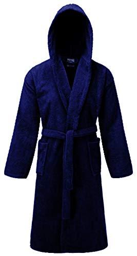 NAUSHA Unisex-Bademantel, mit Kapuze, Schalkragen, 100 % ägyptische Baumwolle, Frottee-Bademantel, Größen S bis XL, Marineblau, L/XL