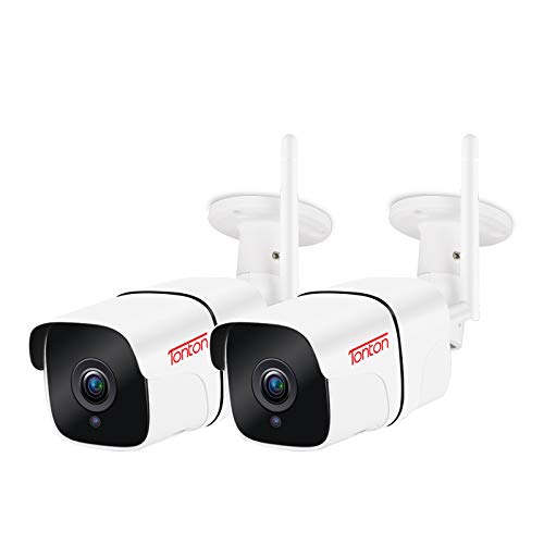 Tonton 1080P Metallgehäuse Überwachungskamera Aussen 2pack, 2.4GHz WLAN IP Kamera mit IP66 wasserdicht Zwei Wege Audio 30M Nachtsicht, AI Bewegungserkennung, Fernzugriff via Smartphones,Tablets und PC