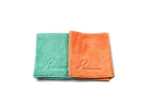 TUPPERWARE FiberPro stofvrij turquoise + oranje stofdoek microvezeldoeken