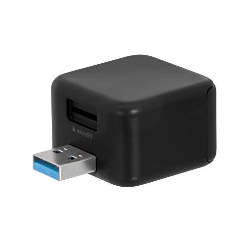 オウルテック BoxCube iOS/Android 両対応 充電しながら簡単データ保存 専用アプリ USB3.2 Gen2(USB3.1) microSDカードリーダー Apple認証品 2年保証 ブラック OWL-CRJU2R-BK