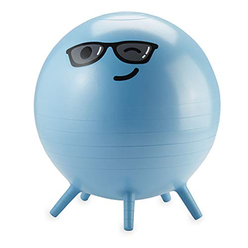Gaiam Kids Stay-N-Play Children's Balance Ball, Flexible School Chair Active Classroom Desk Alternative Seating, Built-In Stay-Put Soft Stability Legs, Includes Air Pump, 45cm, Blue Captain Cool