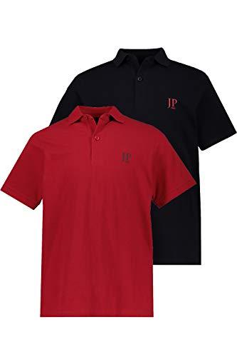 JP 1880 Herren große Größen bis 7XL, Poloshirts, 2er-Pack, Piqué, Seitenschlitze, Regular Fit, rot, schwarz XL 704317 51-XL