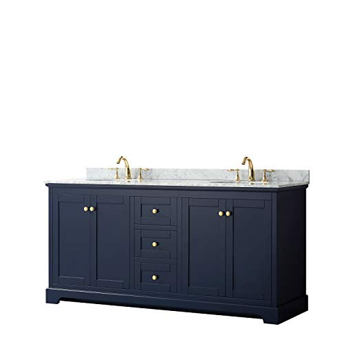 Wyndham Collection Avery 72 Inch Double Bathroom Vanity in Dark Blue, White Carrara Marble Countertop, Undermount Oval Sinks, and No Mirror