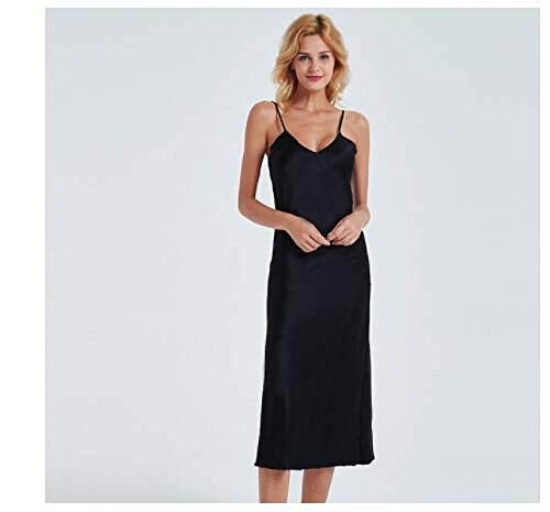 Camisón Mujer Sexy,Camisola Negra Sexy Camisón De Mujer Vestido De Noche Largo Mancha De Seda Artificial Deep-V Ropa De Dormir Bata Femenina Camisón Ropa De Dormir, M