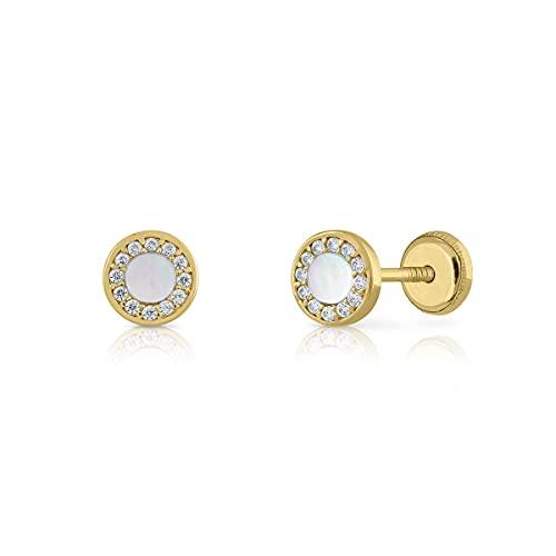 Pendientes Oro/Niña/Mujer. Redondo con nacar y circones. Cierre de seguridad a rosca. Medida 6.5 mm (1-5540-6)