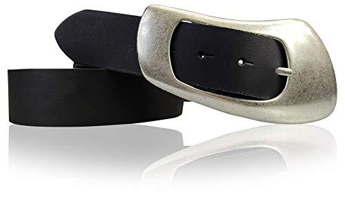 FRONHOFER Damengürtel Echtleder Gürtel, 4 cm große Dornschnalle 70er Jahre Style Hüftgürtel, 18384, Größe:Körperumfang 115 cm/Gesamtlänge 130 cm, Farbe:Schwarz