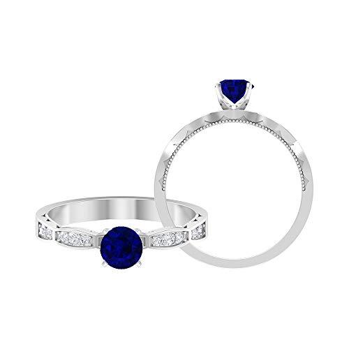 Anillo solitario de zafiro azul de 3/4 quilates, anillo de diamante HI-SI de 1/3 quilates, anillo milgrain de oro (5 mm de zafiro azul con forma redonda), 14K Oro blanco, Size:EU 70