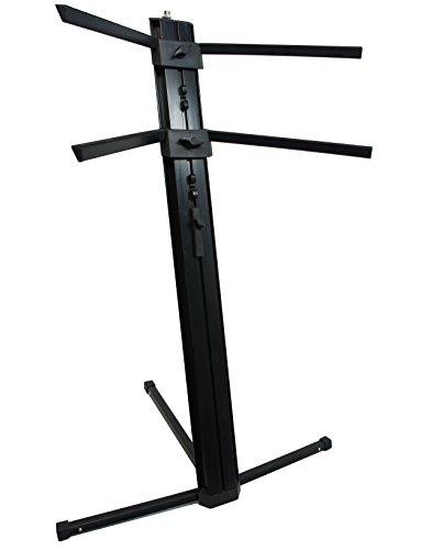 "Harmony Audio HA-KEYSTAND Professional 2-Tier Column Keyboard Stand with 5/8"" Mic Mount Ver2.0"
